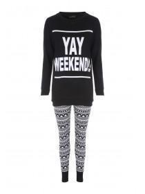 Womens Black Longline Legging Pyjamas