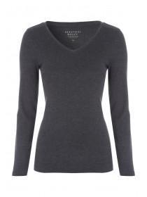Womens Charcoal V-Neck Long Sleeve T-Shirt