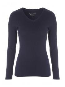 Womens Navy V-Neck Long Sleeve T-Shirt