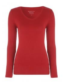 Womens Red Long Sleeve V-Neck Top