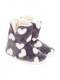 Womens Grey Boot Slipper