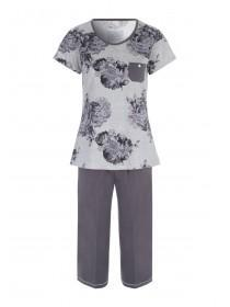 Womens Grey Floral Pyjama Set