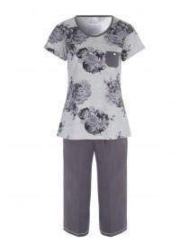 Womens Grey Floral Pyjama Set