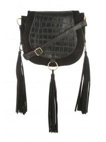 Womens Black Whipstitch Saddle Bag