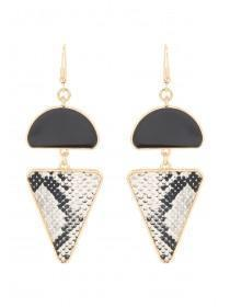 Womens Black Snake Print Drop Earrings