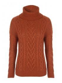 Womens Rust Roll Neck Cable Jumper
