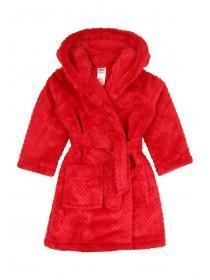 Girls Red Fluffy Hooded Robe