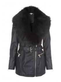 Womens Fur Collar Longline PU Jacket
