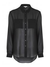 Womens Black Chiffon Shirt