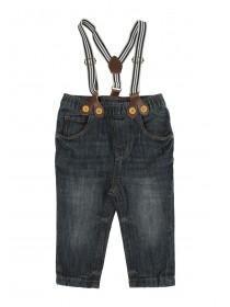 Baby Boys Mid Blue Braces Jeans