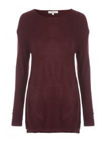 Womens Red Zipped Raglan Jumper
