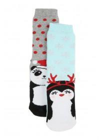 Girls 2pk Festive Slipper Socks