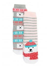 Girls 2pk Fun Slipper Socks