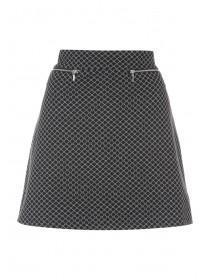 Womens Black Jacquard Mini Skirt
