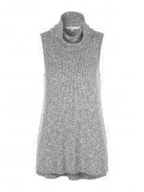 Womens Charcoal Cowl Neck Sleeveless Top
