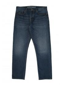 Mens Mid Blue Straight Washed Jean