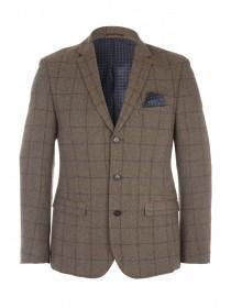 Mens Brisley And Green Windowpane Check Wool Jacket