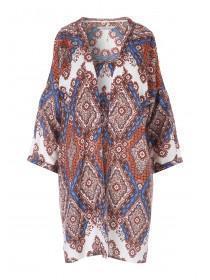 Womens Mid Blue Cold Shoulder Kimono