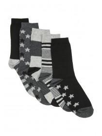 Boys 5pk Charcoal Design Socks