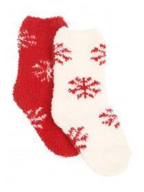 Girls 2PK Red Fluffy Socks