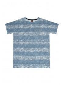Older Boys Mid Blue Chevron Stripe T Shirt