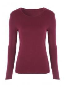 Womens Red Long Sleeve Thermal Top