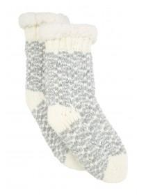 Womens Grey Slipper Socks