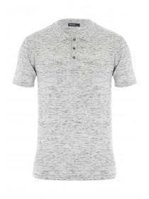 Mens Grey Textured Knit Polo Shirt