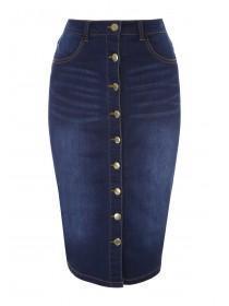 Womens Blue Buttoned Denim Pencil Skirt