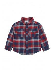 Younger Boys Grey Check Slogan Shirt