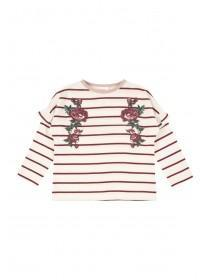Younger Girls Cream Stripe T-Shirt