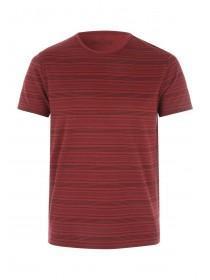 Mens Red Geometric Stripe T-Shirt