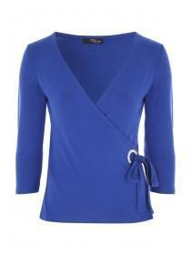 Jane Norman Blue Wrap Eyelet Top