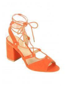 Womens Red Block Heel Ghillie Shoes