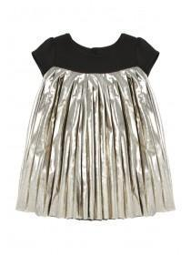 Younger Girls Metallic Pleated Dress
