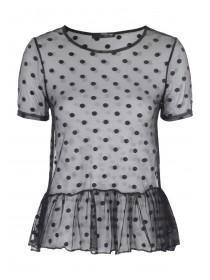 Jane Norman Black Spot Mesh Top