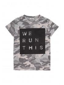 Older Boys Grey Slogan T-Shirt