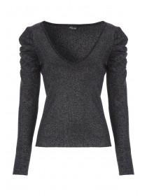 Jane Norman Grey Metallic Puff Shoulder Jumper