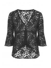 Jane Norman Black Ruched Lace Top