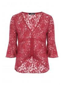 Jane Norman Red Ruched Lace Top