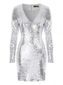 Jane Norman Silver Sequin Bodycon Dress