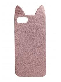 Womens Pink Glitter Cat Phone Case