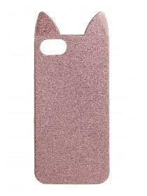 Womens Pink Glitter Cat Phone Case