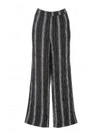 Womens Black Striped Wide Leg Trousers