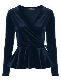 Jane Norman Navy Velvet Wrap Top