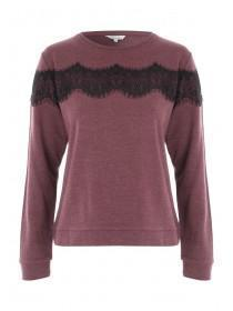 Womens Berry Lace Sweater
