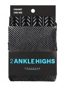 Womens Black 2pk Patterned Ankle Tights