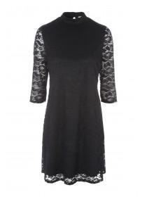 Womens Black Lace Funnel Dress