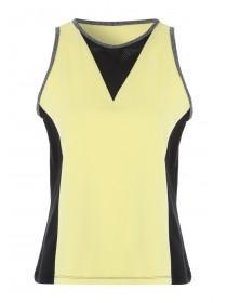 Womens Yellow Mesh Front Gym Vest