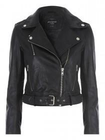 Jane Norman Black Belted Leather Jacket
